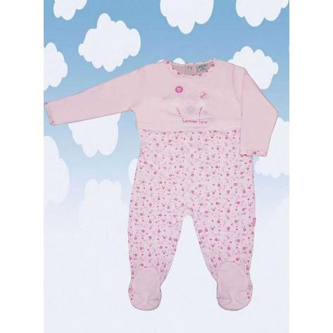 Pijama pelele largo rosa flores