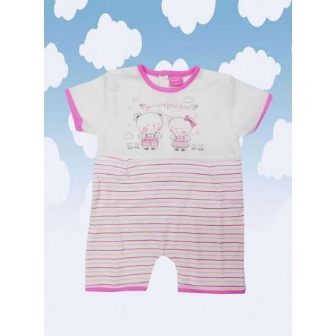 Pijama corto blanco rayas y osos rosa