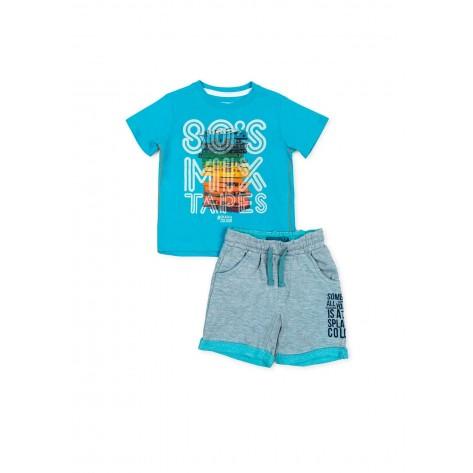 Conjunto sport corto bermuda gris y camiseta turquesa