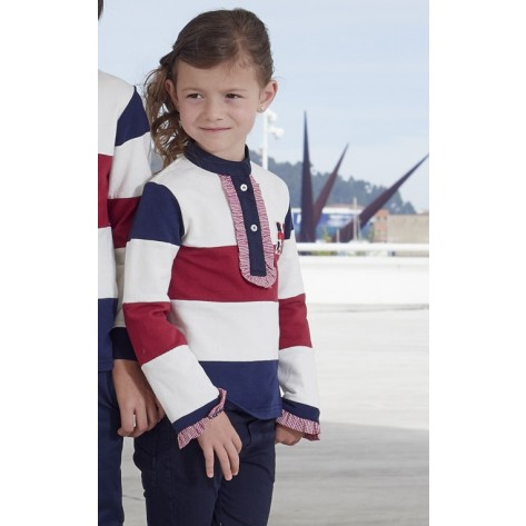 Polo niña marino, blanco y rojo