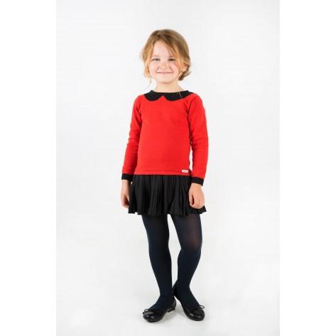Vestido con falda plisada rojo y negro