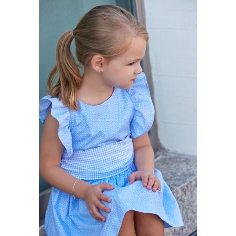 Vestido infantil estampado azul volantes hombros espalda cruzada