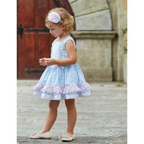 Vestido infantil vichy celeste con rosa