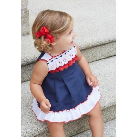 Vestido bebé tirantes marino detalles blanco y rojo