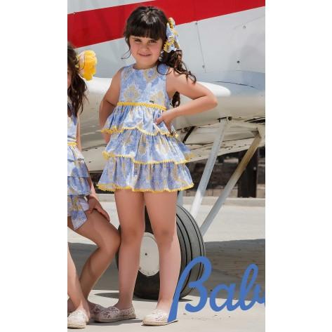 Vestido volantes azul/amarillo corte bajo pecho