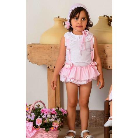 Conjunto ranita tirantes rosa y blusa plumeti