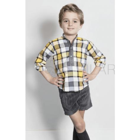 Pantalón chino corto pana gris carbón