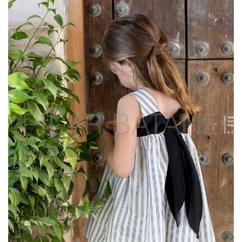 Vestido rayas lazada trasera negra