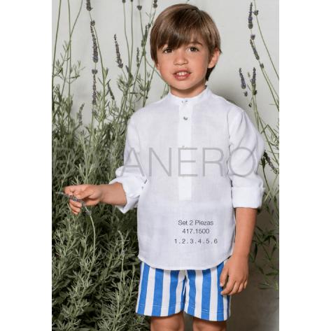Conjunto pantalón rayas azulinas y camisa blanca lino
