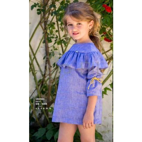 Vestido azulino lino con capelina