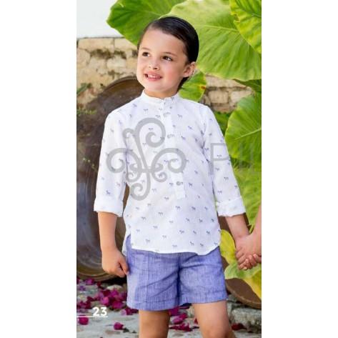 Camisa cebra y pantalón corto azul tinta