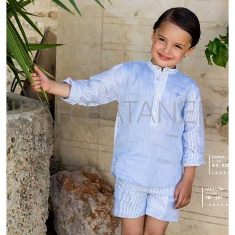 Conjunto camisa tres linos azul y pantalón corto chino