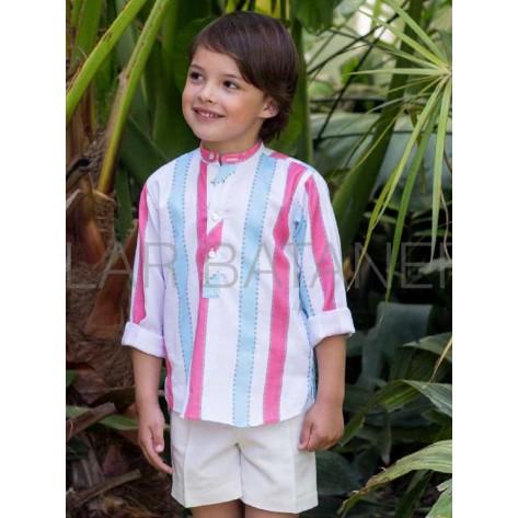 Conjunto bermuda y blusa rayas rosa, turquesa y blanco