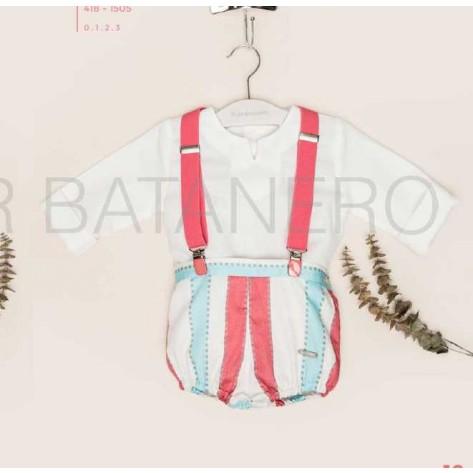 Ranita rayas turquesa, rosa, blanco con tirantes y blusa