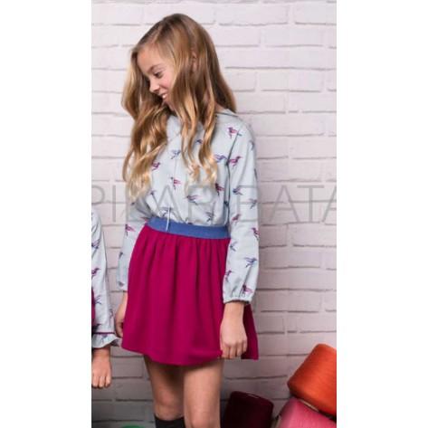 Conjunto falda buganvilla + blusa pajaros