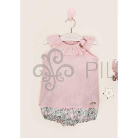 Conjunto blusa plumeti rosa y pololo flores agua
