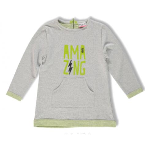Vestido sport gris y verde fosforito