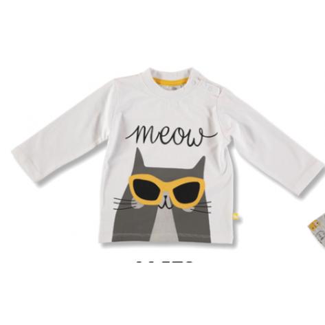 Camiseta niño  manga larga blanca gato amarillo
