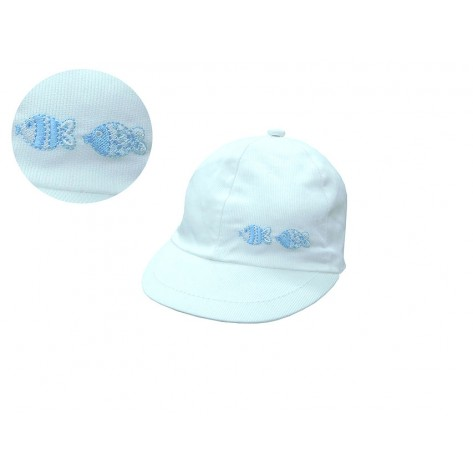 Gorra bebé blanca peces celeste