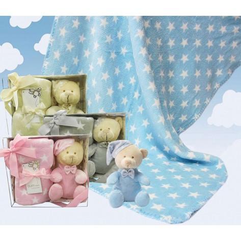 Osito y manta terciopelo estrellas beige en cajita regalo