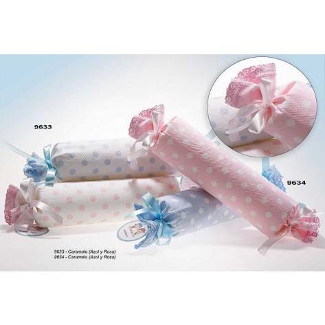 Cojin antivuelco rosa lunares blanco personalizado