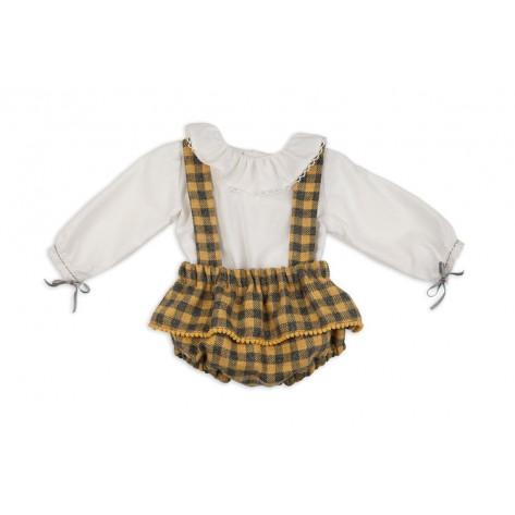 Ranita niña tirantes vichy mostaza con blusa