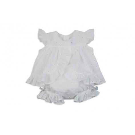 Conjunto braguita y blusa perforado blanco y gris