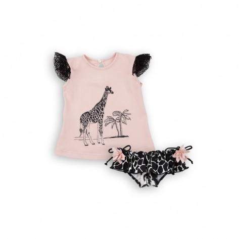 Conjunto camiseta y culetin palmeras negro
