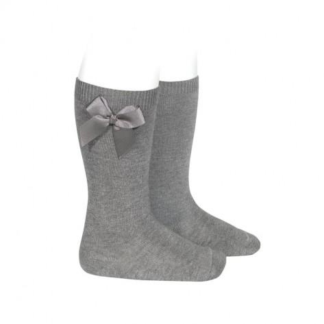 Calcetin alto algodón con lazo lateral  230 gris claro