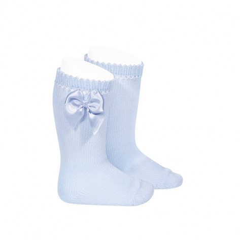 Calcetín alto perle con lazo azul bebe 410
