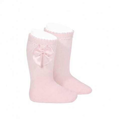 Calcetín alto perle con lazo rosa 500