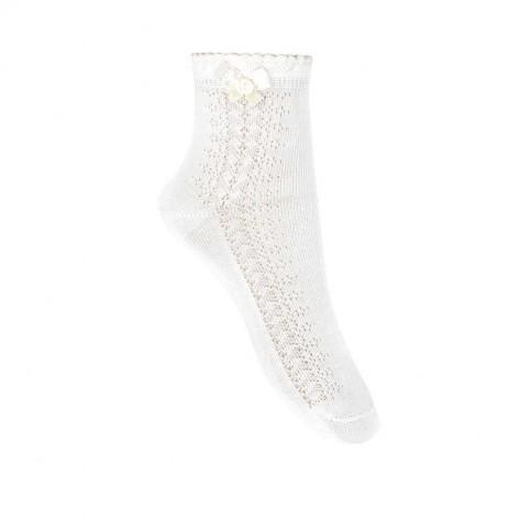 Calcetines tobilleros calado lateral y lazo 200 blanco