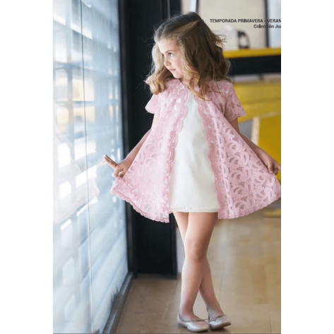 Vestido rosa palo y crudo abierto delante