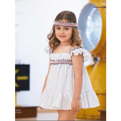 Vestido plumeti canastero blanco, gris y rosa