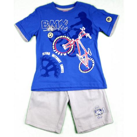 Conjunto pantalón algodón gris y camiseta azul