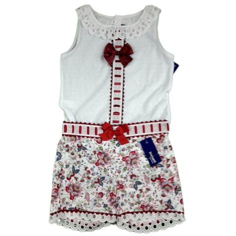 Conjunto pantalón blanco flores lazo y blusa tirantes