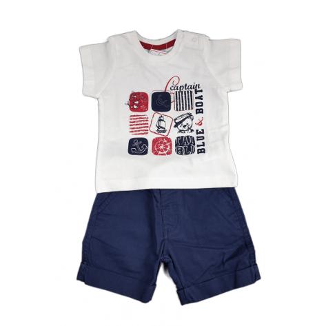 Conjunto pantalón corto loneta marino y camiseta algodón blanca m/c