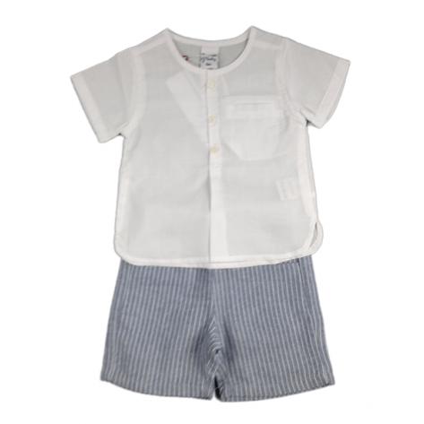 Conjunto pantalón lino rayas azul y blusa blanca