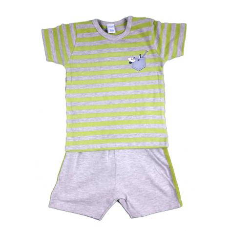 Conjunto short gris y camiseta rayas verde y gris