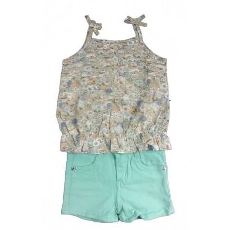 Conjunto short verde aguamarina y camisa tirantes popelin estampado