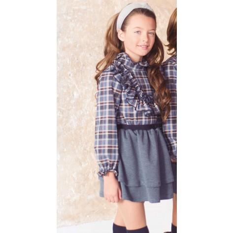 Conjunto falda + blusa cuadros azul y gris