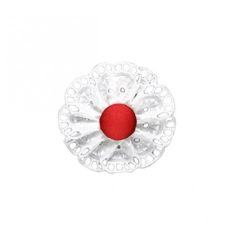Flor bordada roja con pinza