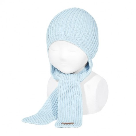 Gorro con bufanda incorporada color 412 celeste