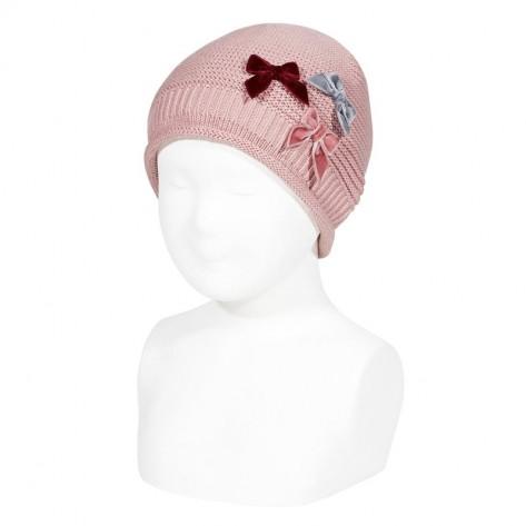 Gorro relieve y lazos velvet rosa palo
