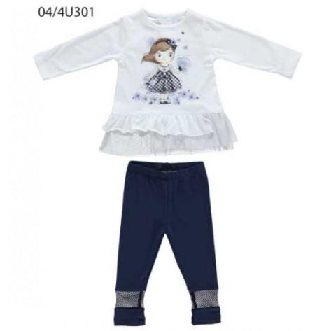 Conjunto m/l leggins marino y camiseta blanca rejilla