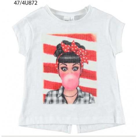 Camiseta manga corta blanca mujer chicle