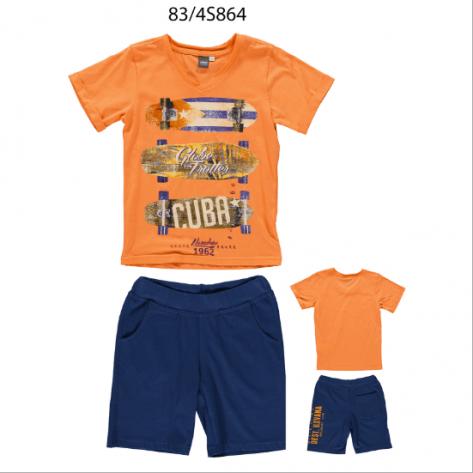 Conjunto sport bermuda marino y camiseta naranja
