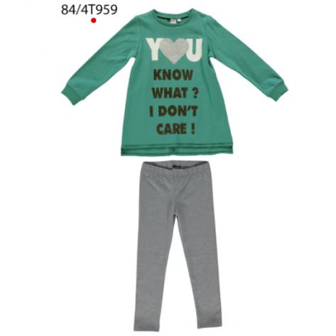 Conjunto leggins gris y camiseta verde