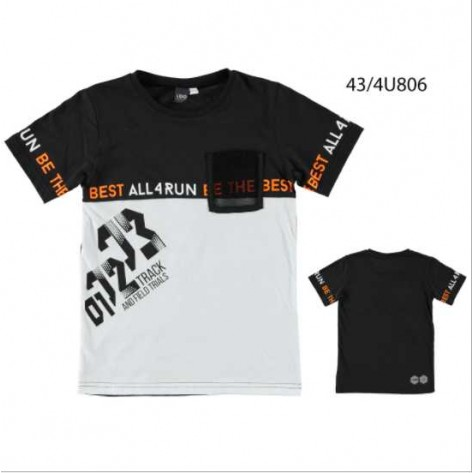 Camiseta negra manga corta letras naranjas