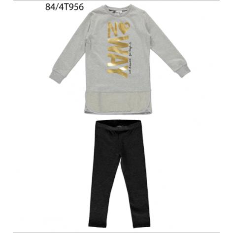 Conjunto leggins negro y sudadera gris dorado